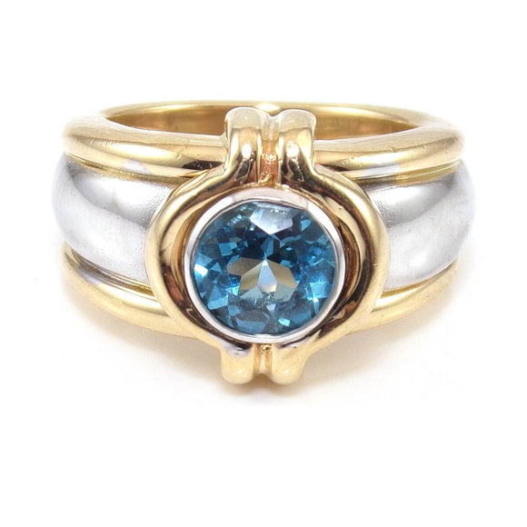 14K Yellow White Gold Blue Topaz Ring Size 5, CMDSHINE