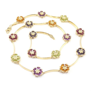 "14K Yellow Gold Multi Gemstone Flower Bar Link Necklace 16.5"", CMDSHINE"