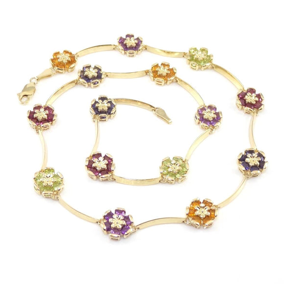 14K Yellow Gold Multi Gemstone Flower Bar Link Necklace 16.5
