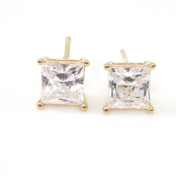 14K Yellow Gold Clear CZ Stud Earrings, CMDSHINE