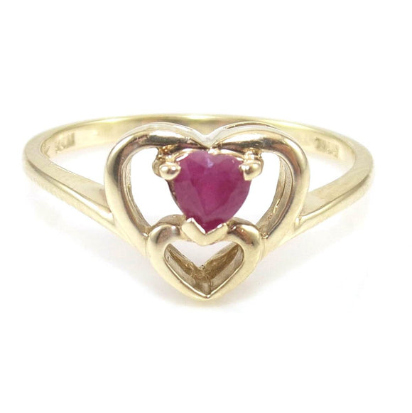 10K Yellow Gold Ring Size 7.5 Natural Ruby Heart, CMDSHINE