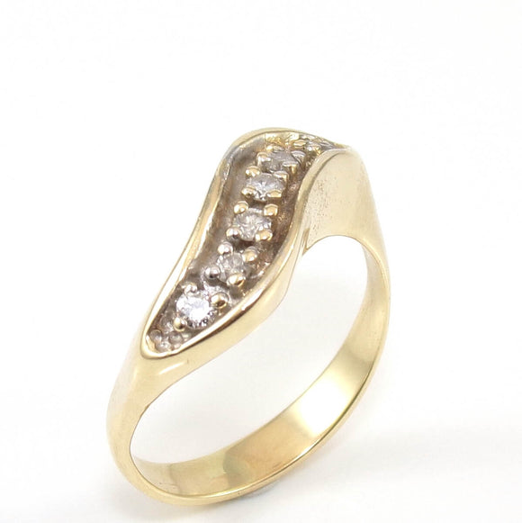 14K Yellow Gold Natural Diamond Wavy Journey Ring Size 9, CMDSHINE