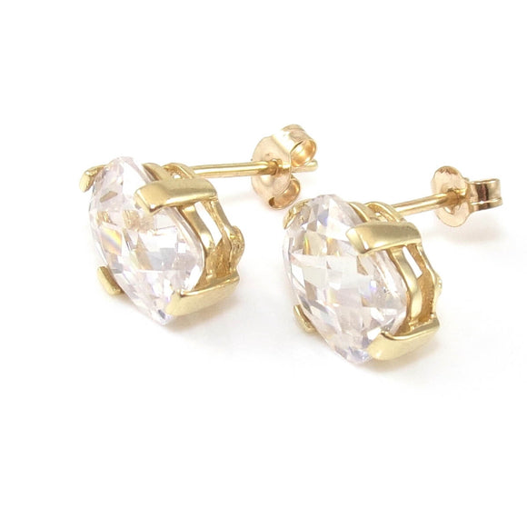 10K Yellow Gold Faceted Clear CZ Stud Earrings, CMDSHINE