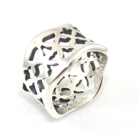 James Avery Rare Retired Sterling Silver Open Cut Tulip Wavy Band Ring Size 5.25, CMDSHINE