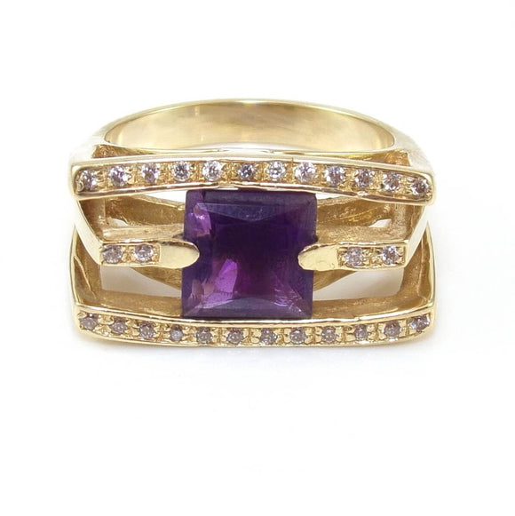 14K Yellow Gold Modernist Natural Diamond Purple Amethyst Cocktail Ring Size 9, CMDSHINE