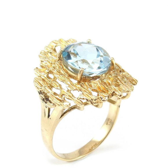 14K Yellow Gold Ring Size 7 Blue Topaz Textured Nugget Oval Solitaire 2.50 ct, CMDSHINE