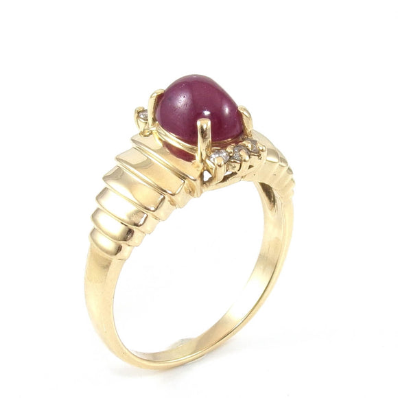 14K Yellow Gold Natural Ruby Diamond Ring Size 7.5, CMDSHINE