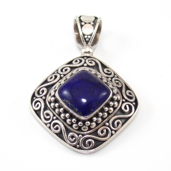 Suarti BA Sterling Silver Blue Lapis Bead Ball Scroll Pendant, CMDSHINE
