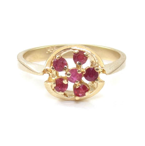 14K Yellow Gold Natural Ruby Flower Halo Cluster Ring Size 6, CMDSHINE