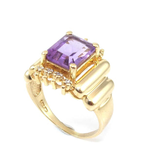 14K Yellow Gold Purple Amethyst Diamond Accent Cocktail Ring Size 8, CMDSHINE