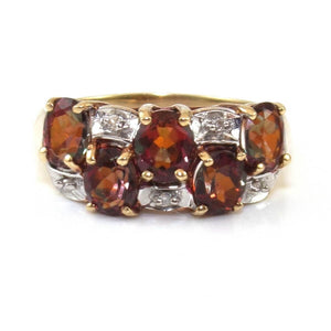 10K Yellow Gold Mystic Topaz Diamond Accent Checkerboard Cluster Ring Size 6.25, CMDSHINE