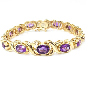"14K Yellow Gold Heavy Graduated Purple Amethyst X Crossover Bracelet 7.25"", CMDSHINE"