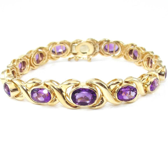 14K Yellow Gold Heavy Graduated Purple Amethyst X Crossover Bracelet 7.25