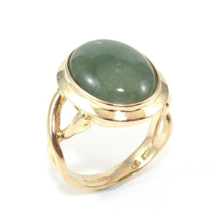 14K Yellow Gold Ring Size 7 Green Jade Oval Solitaire Cocktail, CMDSHINE