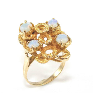 Vintage 14K Yellow Gold Natural Opal Ring Size 5.25, CMDSHINE