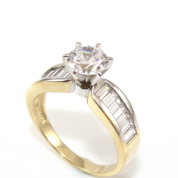 14K Yellow Gold Clear CZ Wedding Engagement Ring Size 8, CMDSHINE