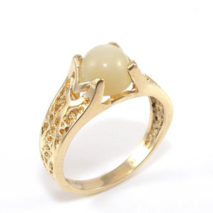 14K Yellow Gold Cat's Eye Ring Size 7.25, CMDSHINE