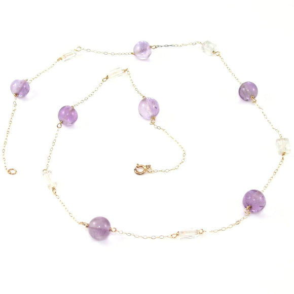 10K Yellow Gold Purple Amethyst White Topaz Bead Necklace 18