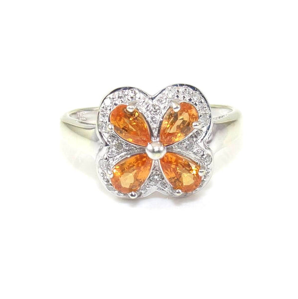 14K White Gold Orange Citrine Diamond Accent Butterfly Ring Size 7, CMDSHINE