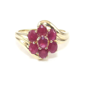 14K Yellow Gold Ring Size 7.5 Natural Ruby 1.00 ct Cluster, CMDSHINE