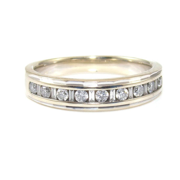 Michael Hill 18K White Gold 1/4 ct Natural Diamond Wedding Band Ring Size 6, CMDSHINE