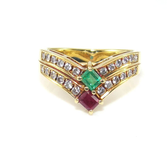 18K Yellow Gold Natural Ruby Emerald Diamond Chevron Band Ring Size 5.25, CMDSHINE