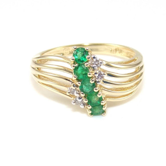 14k Yellow Gold Natural Emerald Diamond Journey Ring Size 6.5, CMDSHINE