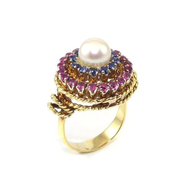 18K Yellow Gold Natural Blue Sapphire Pink Ruby Pearl Halo Ring Size 3, CMDSHINE