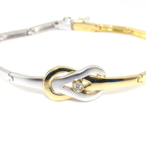 18K Yellow White Gold Infinity Love Knot Natural Diamond Bracelet, CMDSHINE