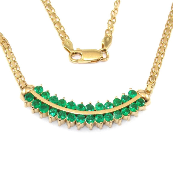 18K Yellow Gold 2 1/2 ct Natural Green Emerald Bismark Chain Necklace 17.5