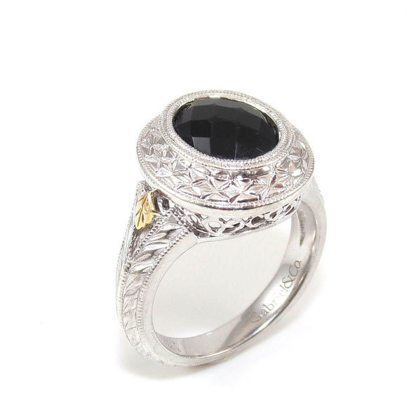 Gabriel & Co. Sterling Silver 18K Yellow Gold Black Onyx Ring Size 7.5, CMDSHINE