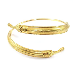 David Andersen 14K Yellow Gold Saga Cuff Bangle Bypass Wrap Bracelet, CMDSHINE