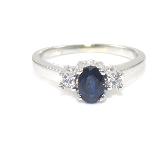 JWBR Kay Jewelers Platinum Natural Blue Sapphire Diamond Engagement Ring Size 6, CMDSHINE