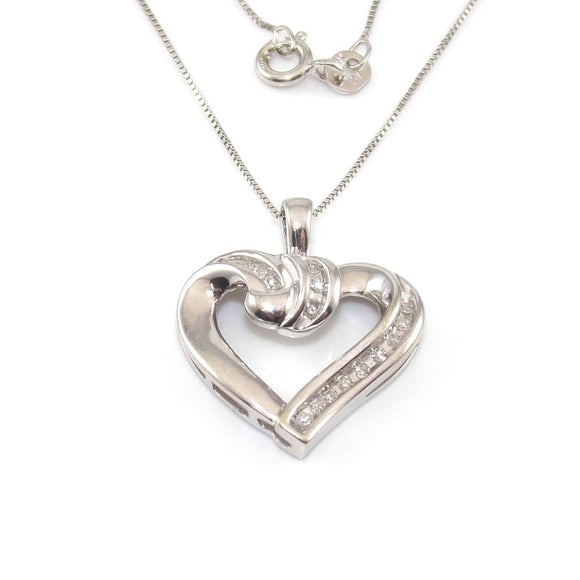 Alwand Vahan 10K White Gold Natural Diamond Heart Pendant Box Chain Necklace, CMDSHINE