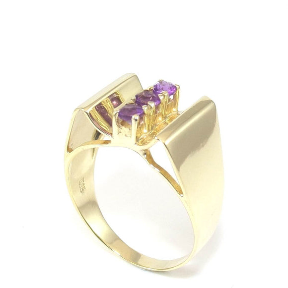 14K Yellow Gold Purple Amethyst Three Stone Ring Size 9, CMDSHINE