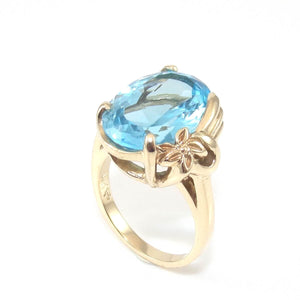 10K Yellow Gold 9.00 ct Blue Topaz Flower Cocktail Ring Size 7.5, CMDSHINE