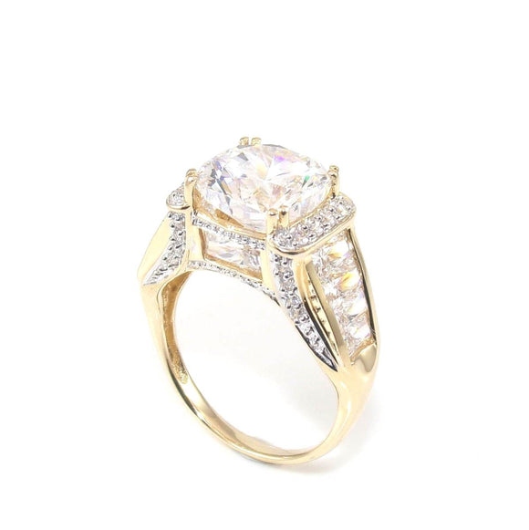 14K Yellow Gold 6 ct Clear CZ Cocktail Ring Size 7.25, CMDSHINE