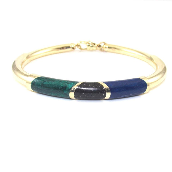 14K Yellow Gold Bracelet Italy Multi Color Green Blue Black Enamel, CMDSHINE