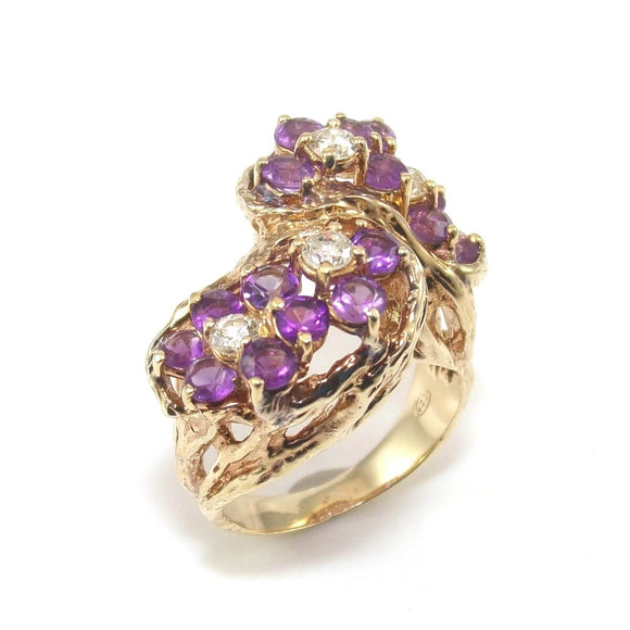Vtg 14K Yellow Gold 1 5/8 ct Amethyst 1/3 ct Diamond Cluster Cocktail Ring 6.25, CMDSHINE