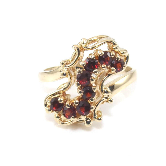 Vintage 14K Yellow Gold Ring Size 7 Red Garnet Journey Geometric 2/5 ct, CMDSHINE