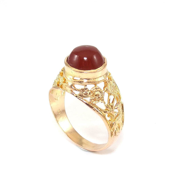 Vintage 18K Yellow Gold Carnelian Deer Hummingbird Flower Ring Size 7.75, CMDSHINE