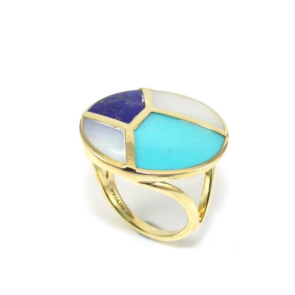 Ippolita 18K Yellow Gold Rock Candy Turquoise Lapis MOP Ring Size 7.5, CMDSHINE
