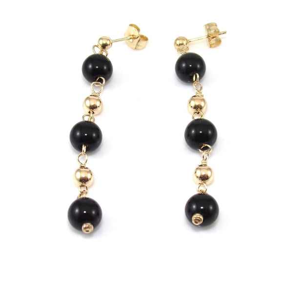14K Yellow Gold Earrings Black Onyx Bead Ball Dangle, CMDSHINE