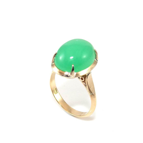 Vintage 18K Yellow Gold Ring Green Chrysoprase Solitaire Size 4, CMDSHINE