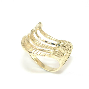 14K Yellow Gold Ring Size 7.5 Diamond Cut Geometric Wavy Band, CMDSHINE