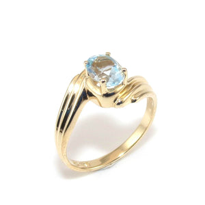 14K Yellow Gold Ring 3/4 ct Blue Topaz Solitaire Size 6.5, CMDSHINE