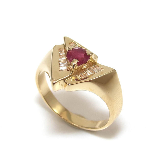 14K Yellow Gold 1/4 ct Natural Ruby 1/5 ct Diamond Ring Size 6.25, CMDSHINE