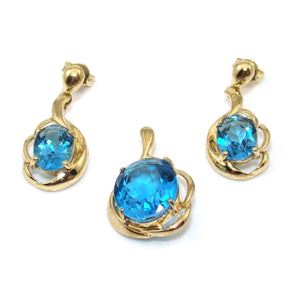 10K Yellow Gold Blue Topaz Earring Pendant Set Lot, CMDSHINE
