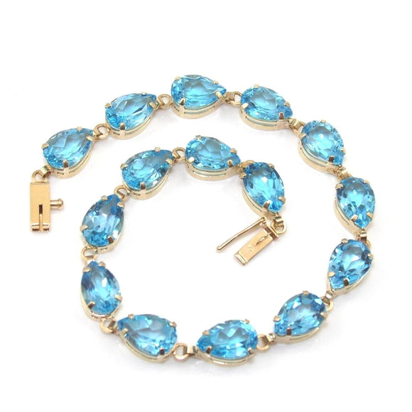 10K Yellow Gold Blue Topaz Chain Link Tennis Bracelet 7.5