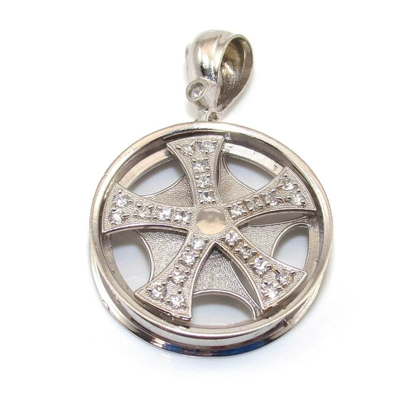 10K White Gold 1.00 ct CZ Tire Rim Wheel Spinner Bling Pendant, CMDSHINE